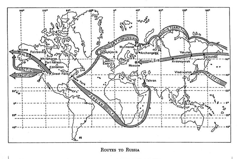 Маршруты доставки ленд-лиза в СССР