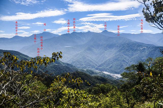塔羅留稜線危瘦稜(H 1367 m)東眺群山
