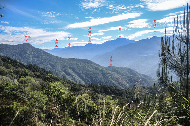 塔羅留稜線危瘦稜(H 1367 m)東眺群山 2
