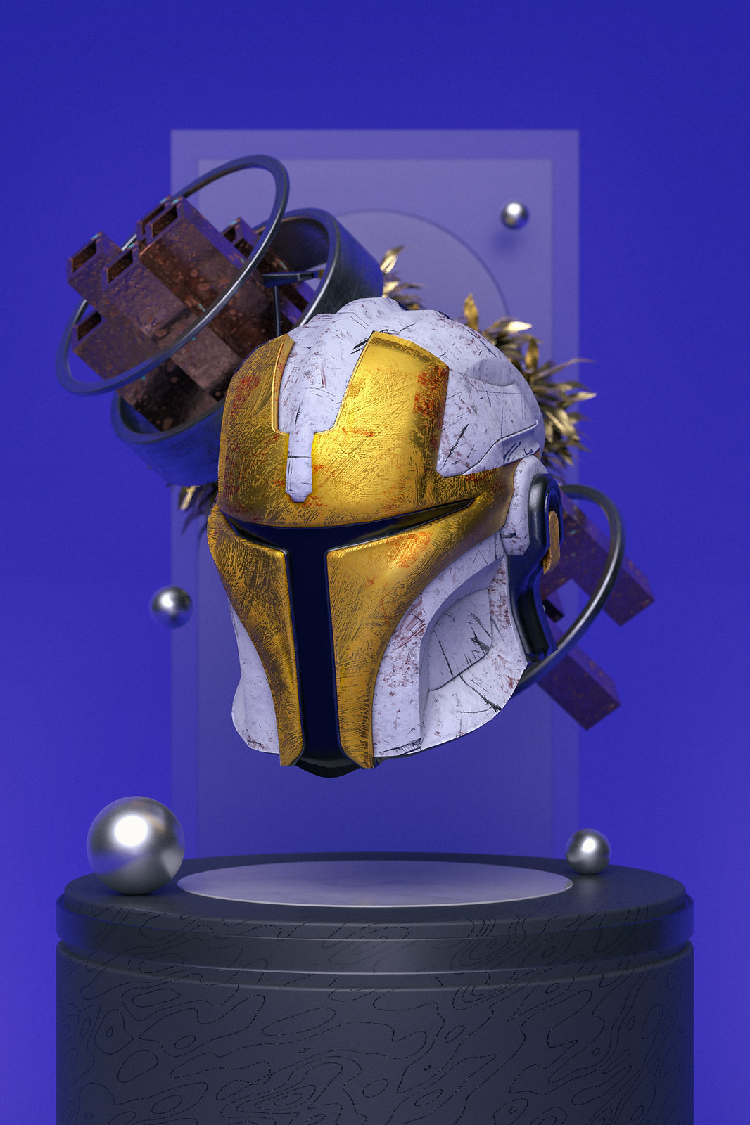 3D Rendered image in Cinema4D showing a Mandalorian Helmet (from Star Wars) floating above a tube. It's white with gold accents. In the background metal tubes and golden plants float behind the helmet.