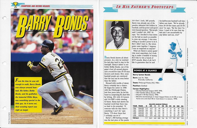1989-91 Newfield Sports Pages - Champions and Record Holders - Bonds, Barry (stats through 1990)