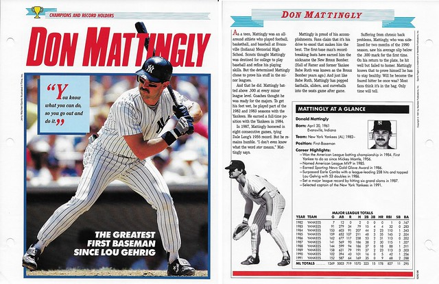 1989-91 Newfield Sports Pages - Champions and Record Holders - Mattingly, Don (stats through 1991)