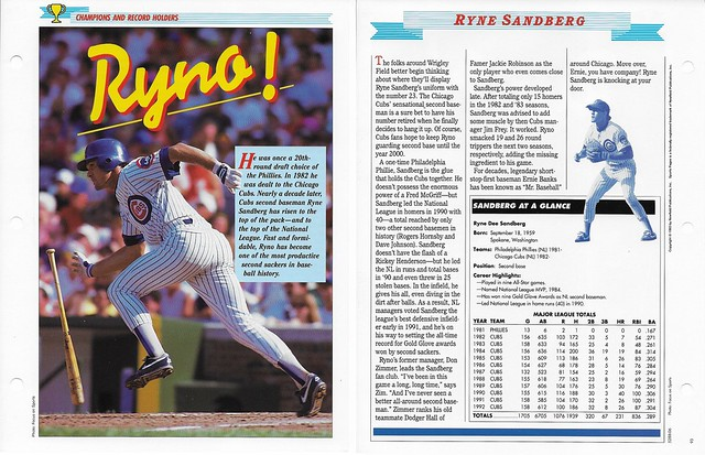 1993 Newfield Sports Pages - Champions and Record Holders - Sandberg, Ryne