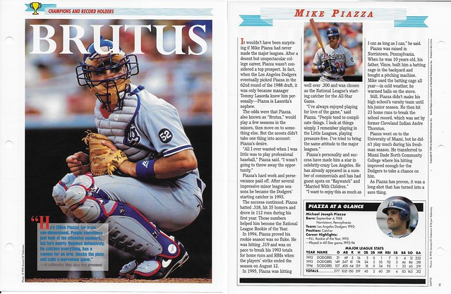 1995 Newfield Sports Pages - Champions and Record Holders - Piazza, Mike