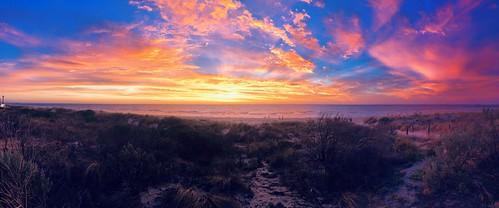 sunset panorama beach beautiful colours pano panoramic colourful adelaide southaustralia grangebeach blue wallpaper orange colour sunrise amazing background widescreen