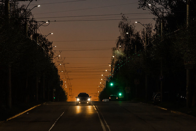 evening on the road