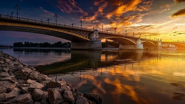 Margaret Bridge at Golden Hour, Budapest, Hungary