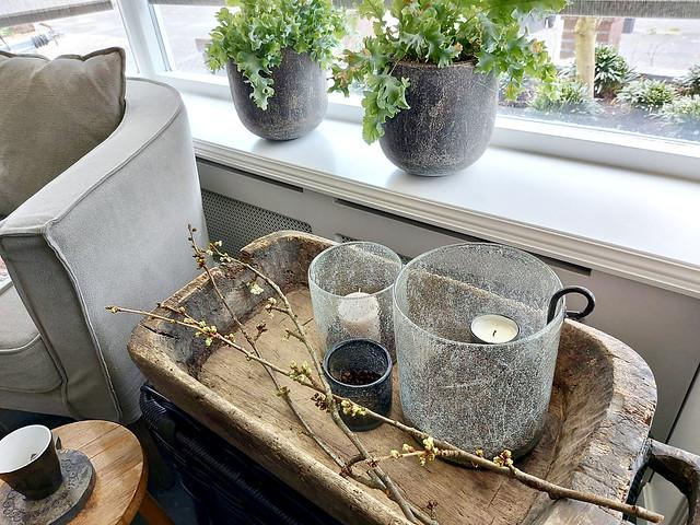Houten trog bubbel windlicht hangkandelaar landelijke potten vensterbank