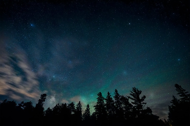 Northern lights, airglow and clouds with stars over the forest at Wildernes State Park near Mackinaw City, Michigan