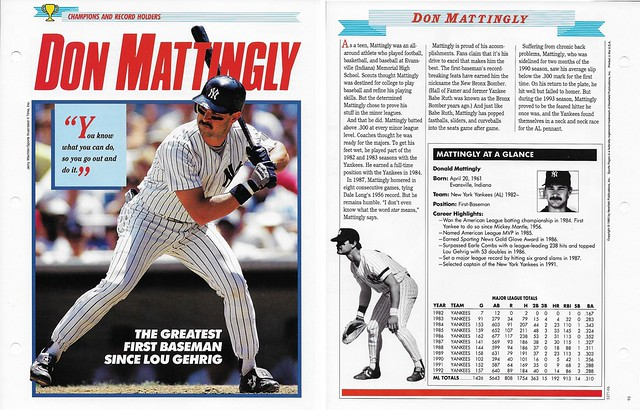 1993 Newfield Sports Pages - Champions and Record Holders - Mattingly, Don