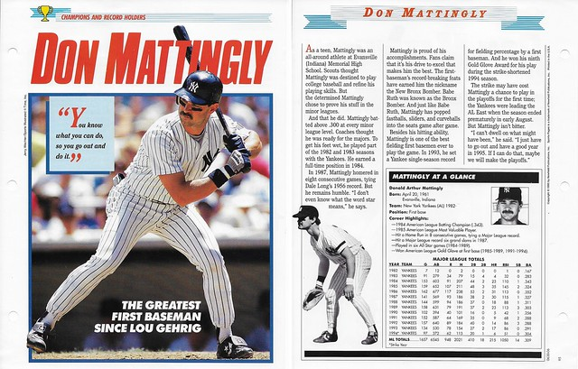 1995 Newfield Sports Pages - Champions and Record Holders - Mattingly, Don