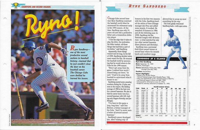 1996 Newfield Sports Pages - Champions and Record Holders - Sandberg, Ryne