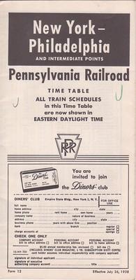 PRR 1958 NY Philadelphia Cover