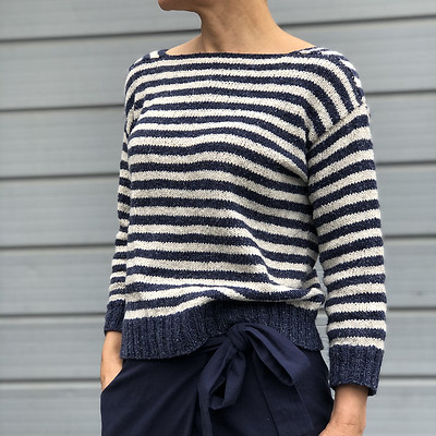 Ship Shape by Heidi Kirrmaier is knit seamlessly from the top down starting with the 2 shoulder gussets. Available at 20% off on Ravelry until May 16, 2021.