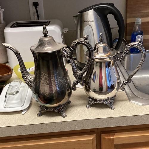 Two Oneida teapots