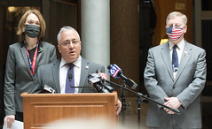 House Republican Leader Vincent Candelora, center, is flanked by Reps. Holly Cheeseman and Mike France during a news conference where they discussed the House Republican alternative to the federal pandemic aid allocation plan issued by Gov. Lamont.