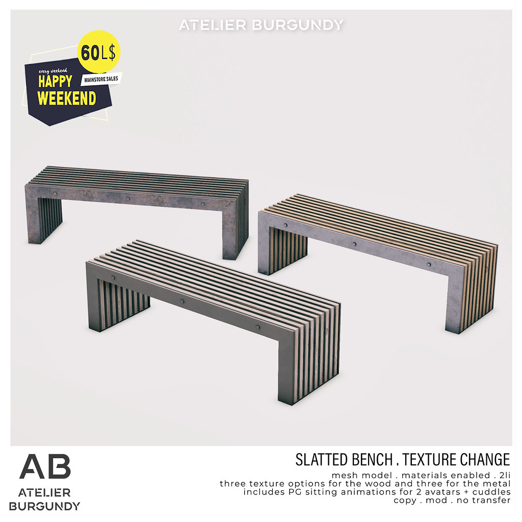 Atelier Burgundy . Slatted Bench