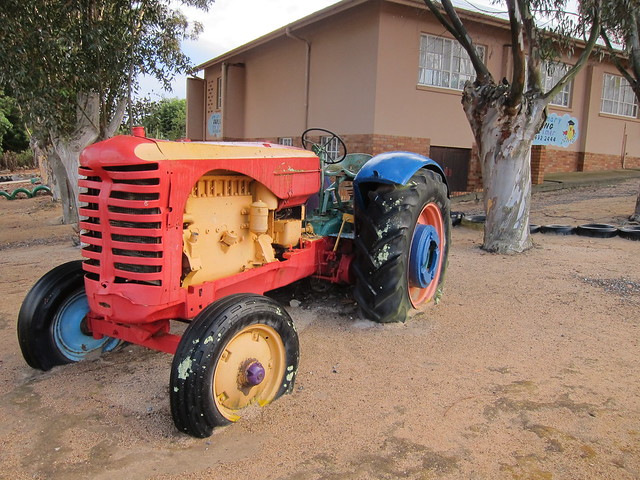 Tractor doing playground duty