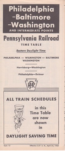 PRR 1960 Philadelphia Washington Cover