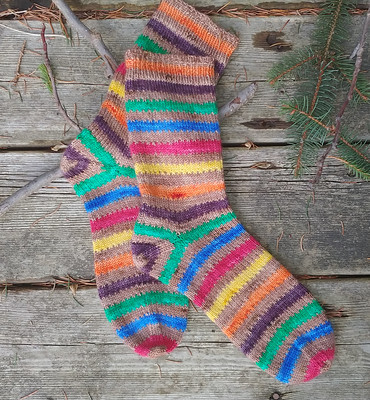 Sharon (Sharbooski) finished these socks back in January using Timber Yarns Twin Sock in Monster Cookie!