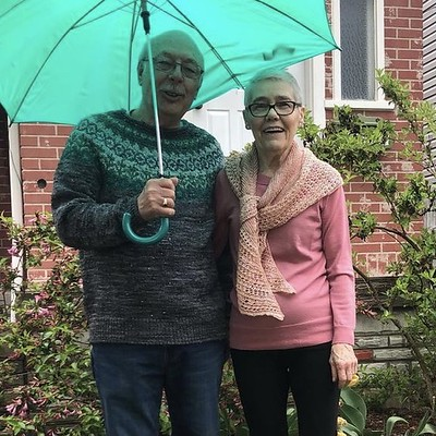 Brandi (@thegreenbuttonjar) snapped this of her parents wearing Grettir by Jared Flood of Brooklyn Tweed and Rosewater by Janina Kallio of Woolenberry!