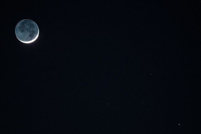 Moon and Mercury in a star field