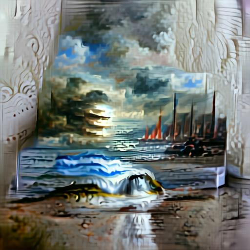 Aleph2Image Delta v2 - Seascape Oil Painting