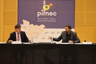 El president de PIMEC, Antoni Cañete, i el president de PIMEC Esport, August Tarragó, realitzen una roda de premsa per presentar la nova sectorial de la patronal: PIMEC Esport