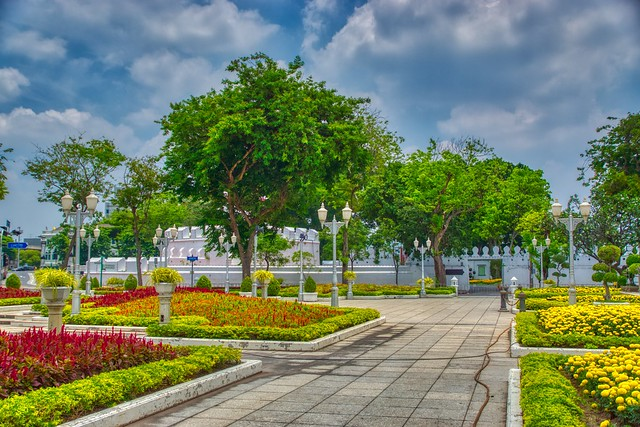 Mahakan Fort behind some trees on Rattanakosin island (Old Town) in Bangkok, Thailand