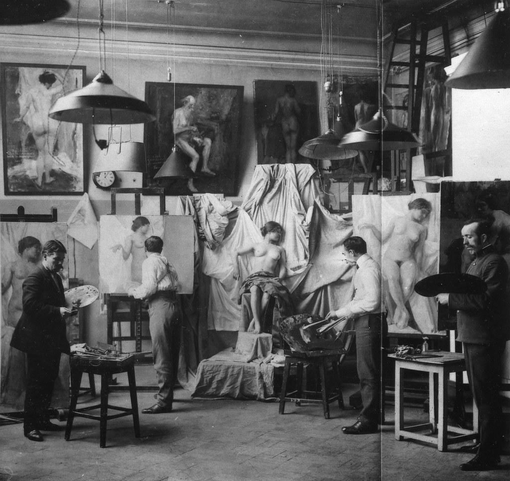 1913. Мастерская профессора В. Е. Маковского в Академии художеств, Санкт-Петербург
