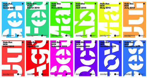 Colour-coded monthly bus guides for  the TMB, 2013. Designers: Eskenazi and Dani Rubio.