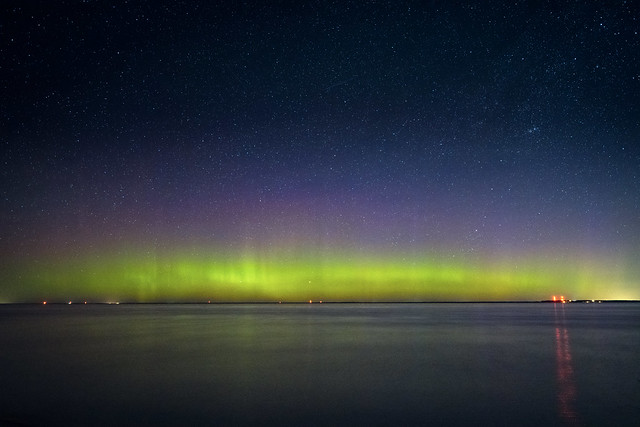 Northern Lights over Lake Michigan and Upper Peninsula, Michigan