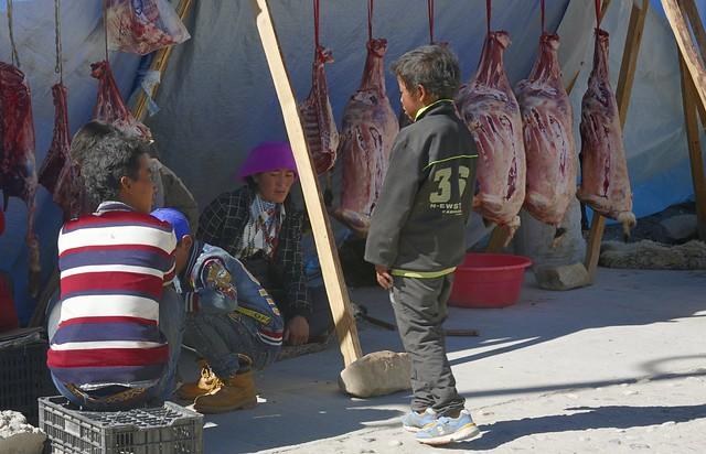 Street butcher in Tingri, Tibet 2019