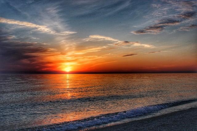 Pierport sunset, Lake Michigan