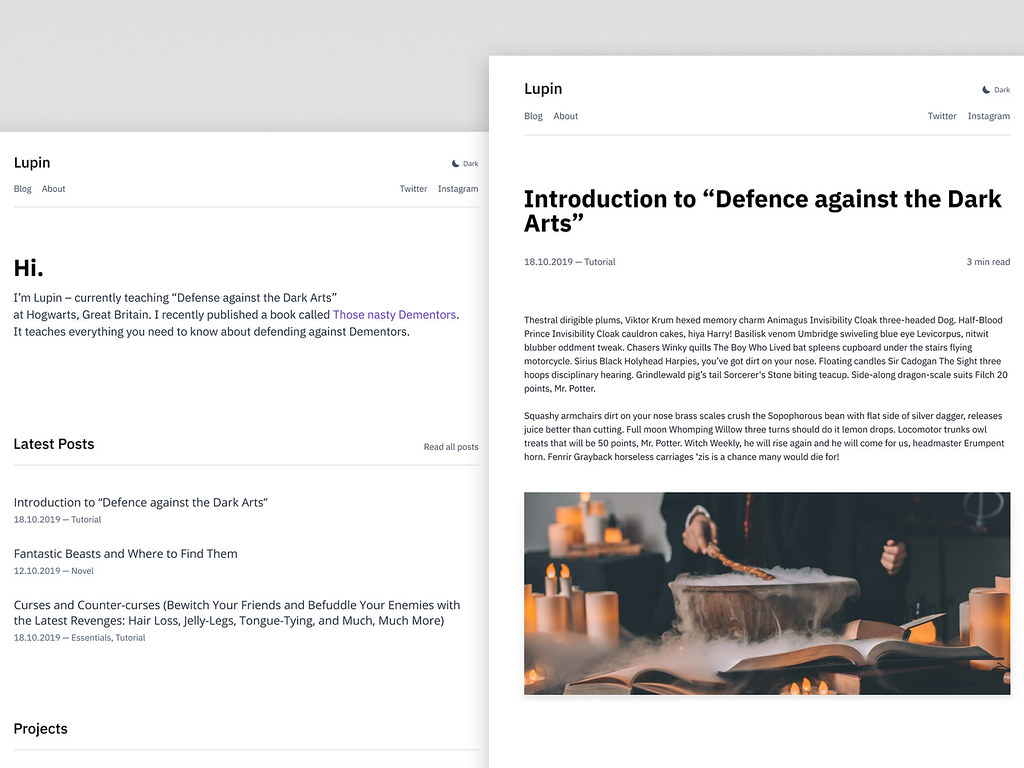 Typography-heavy website in a minimal design. Mockup of minimal-blog.lekoarts.de