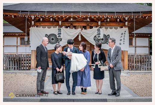 渋川神社へお宮参り ご家族そろって集合写真 愛知県尾張旭市