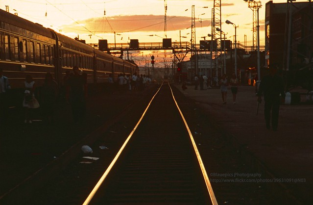 Transsib, Russia, Krasnojarsk station at sunset