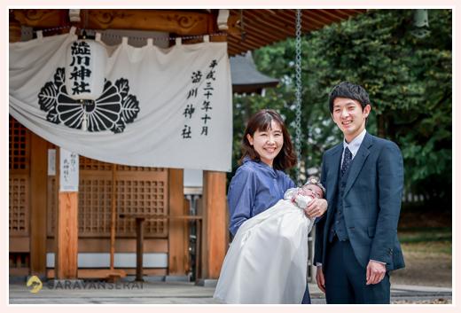 お宮参り 愛知県尾張旭市の渋川神社へ 白のベビードレス