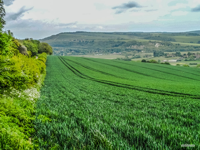 From the South Downs near Bury Hill, a view over the flood-plain of the River Arun's Valley, towards Houghton, Amberley and Rackham Hill, West Sussex, England.