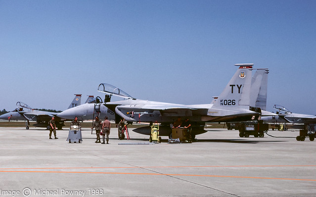 76-0026 - 1976 fiscal McDonnell Douglas F-15A Eagle, on the flightline at Tyndall AFB in 1993