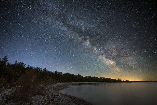 The Milky Way over Lake Michigan at the Headlands International Dark Sky Park near Mackinaw City, Michigan