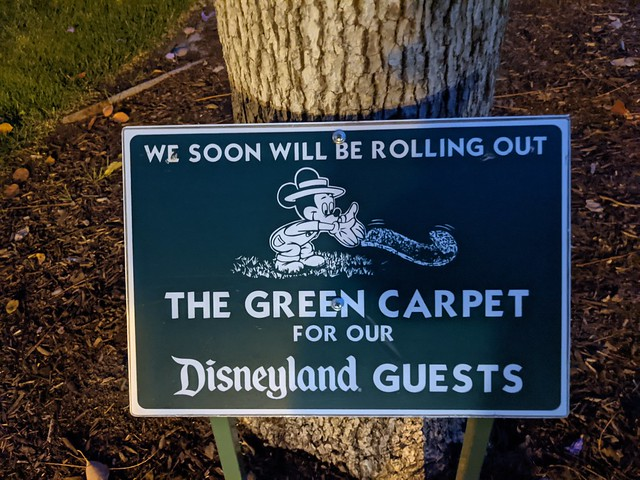 Rolling Out the Green Carpet sign, Disneyland, Anaheim, Orange County, California