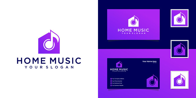 music house logo design template and business card