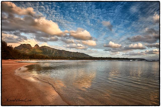Kalalea Mountain from Anahola Beach, Kauai.