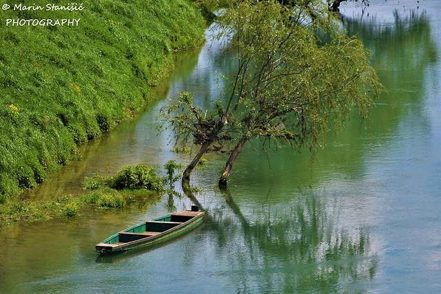 All in green - river, trees boat  - Karlovac, Croatia