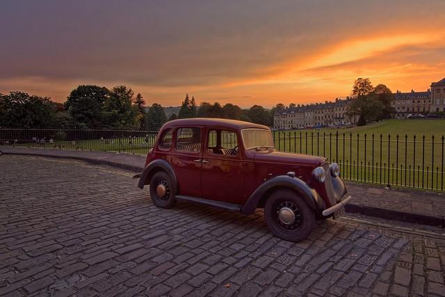 1937 Austin 10 Cambridge 🚙 parked at the Royal Crescent Bath 🌇
