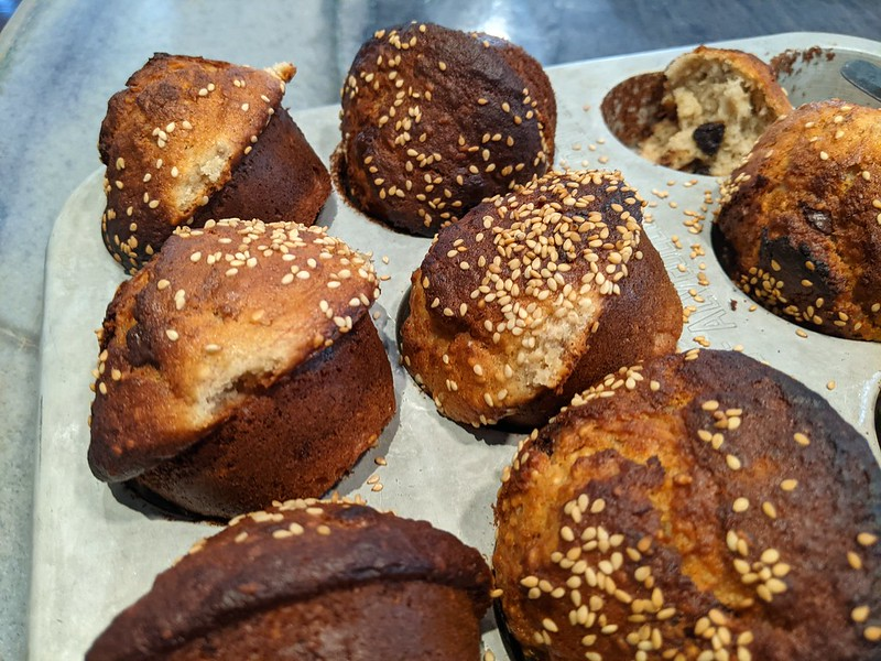 Banana Muffins with Sesame and Chocolate Chunks