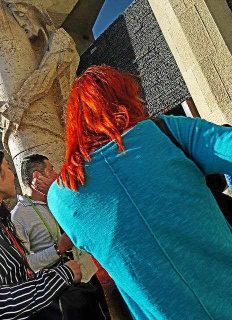 Blue and Red and Jesus - Tourists, La Sagrada Familia, Barcelona