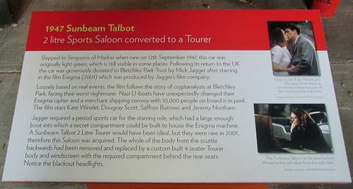 Sunbeam Talbot Information Board, Bletchley Park