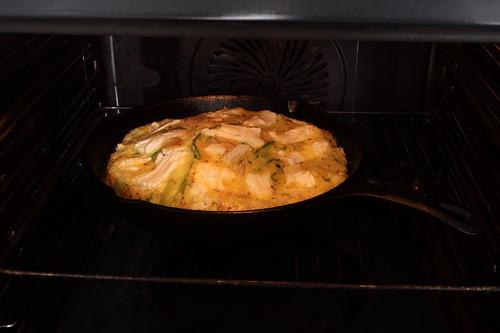 Frittata mit grünem Spargel und Ziegenkäse (noch im Backofen)